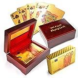 Poker Geschenkset Texas Hold'em im 500EURO Noten Stil (Kartenrückseite), PVC-Karten im Gold-Design mit edler Holzschatulle (Holz, Hochglanz) - Marke Ganzoo