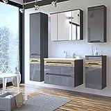 Badezimmermöbel Komplett Set ● Hochglanz graphit mit Wotaneiche inkl. 80cm Waschtisch-Unterschrank mit Keramik-Waschbecken ● LED-Spiegelschrank, Hängeschrank, Unterschrank & Hochschrank Badmöbel Set 5-teilig
