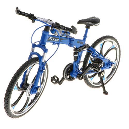HEITIGN 1:10 Maßstab Metalldruckguss Fahrrad Modell, Mini Fahrrad Sammlung Spielzeug Geschenk, Legierung Klapp Mountainbike für Home Office Bar Decor, Blau