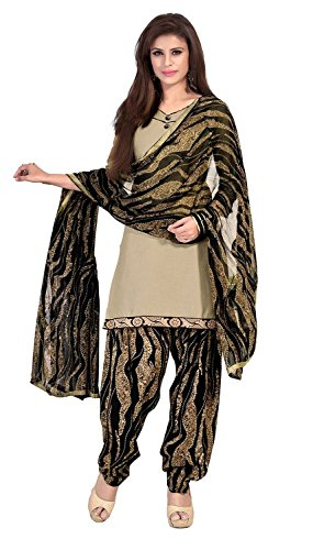 EthnicJunction Women\'s Cotton Patiala Style Unstitched Dress Material (EJ1110-103_Beige And Black)