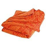 Paisley Kuscheldecke (Orange), 150x200cm, 60 Prozent Baumwolle, Yoga-Decke, Sofadecke, Überwurf, Tagesdecke