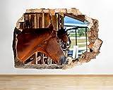 tekkdesigns Q644Pferde Stall Schlafzimmer Hall zerstörten Wand Aufkleber 3D Kunst Aufkleber Vinyl Raum