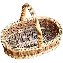 Childs verde sauce mimbre cesta de la compra ovalada