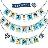 Hsei Let The Adventure Begin Banner da Viaggio Bon Voyage Bandiera Festa a Tema Viaggio Forniture per Compleanno Laurea Pensione Addio Avventura