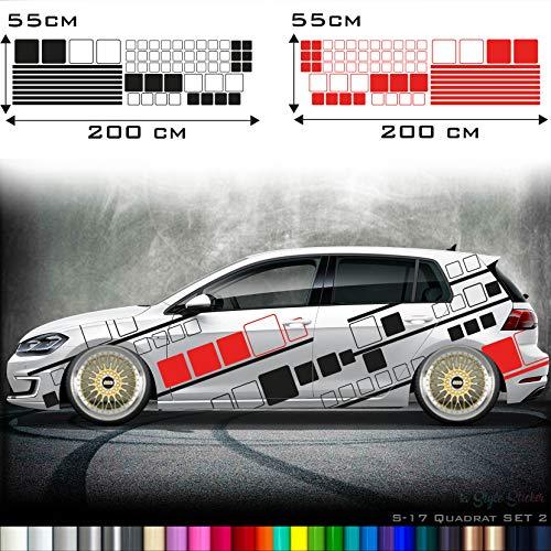 Auto Camouflage Aufkleber Set Streifen Kästen Cyber Pixel Autotattoo Car-Style Sticker Hexa Matrix Look Stance S17 -