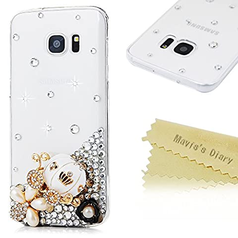 S7 Edge Case ,Galaxy S7 Edge Case - Mavis's Diary 3D Handmade Bling Diamond White Pumpkin Carriage Colorful Pearl Flowers Shiny Rhinestones Protective Clear Hard PC Cover for Samsung Galaxy S7