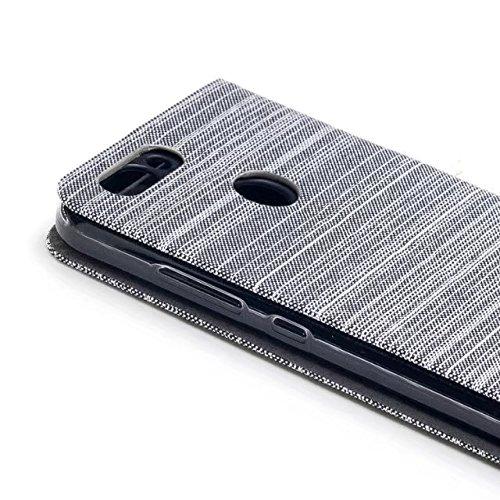 EKINHUI Case Cover Mischfarben Segeltuch Jeans Tuch Beschaffenheit PU-lederner weicher TPU rückseitige Abdeckung mit Kickstand und Kartenschlitzen für Huawei NOVA 2 ( Color : Darkblue ) White