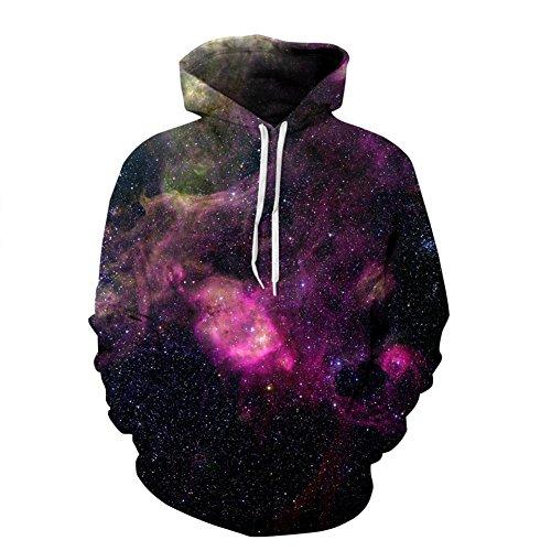 GPFDM Herren Sportbekleidung Lange Ärmel Unisex Kapuze Sweatshirt Realistisch Bunt Galaxis 3D Gedruckt Hoodies Paare, l/XL (Paare Für Crewneck-sweatshirts)