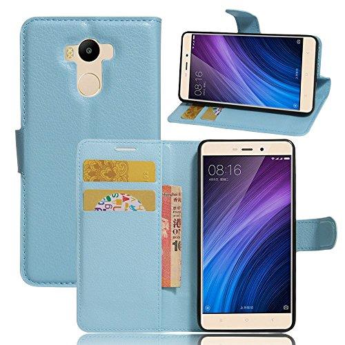 Tasche für Xiaomi Redmi 4 Prime Hülle, Ycloud PU Ledertasche Flip Cover Wallet Case Handyhülle mit Stand Function Credit Card Slots Bookstyle Purse Design blau