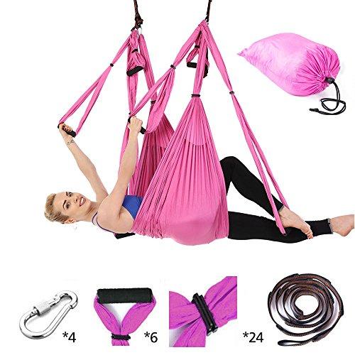 Once ZY Time Antena yoga hamaca columpio hamaca cinturón correa de yoga Yoga honda manejar tela paracaídas ejercicios de fitness antigravedad entrenamiento herramientas de yoga con 440 lb de carga, rosa