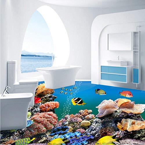 Mmneb Tropische Fische Aquarium 3D Boden Wasserdicht Bad Studie Lobby Wohnzimmer Bodenbelag Schlafzimmer Tapete Wandbild-350X250Cm (Fisch-tank-speicher)