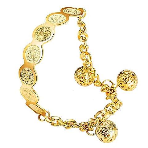 Fengteng Damen Allah Armband islamischen Muslim Münze Rund Armbänder Koran Art Gold Farbe Verstellbare Kette