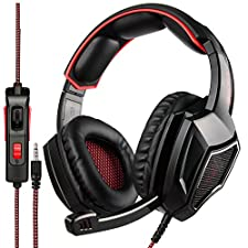 SADES Gaming Headset for PS4 & PC & Xbox One, Nintendo Switch,Mic Gamer Headphones with 3.5mm Wired Noise Isolation-BLACK&RED