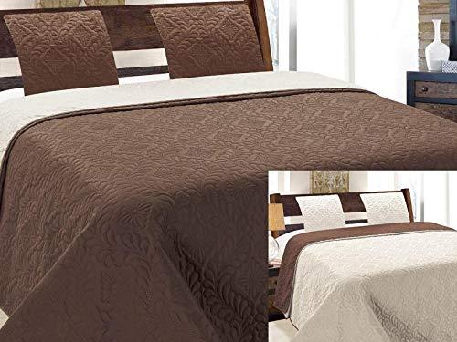 Colcha de dos caras acolchada, 3 piezas. 220 x 240 y 180 x 220 + 2 fundas de almohada Vigo marrón...