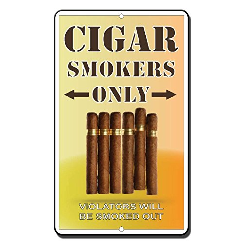 Monsety Gartenzaun Garage Dekoratives Schild Zigarren Raucher Only Violators Will Be Smoked Out Sicherheits-Schild Metall Haustier Schild Geschenk (Ist Zigarren Ein Junge Es)