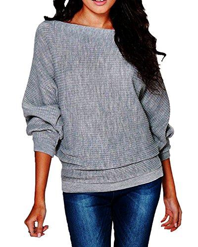 Damen Pullover Langarm Stretch Oversized Schulterfrei Knit Jumper Tunika Sweatshirt Gestrickt Mantel Batwing Bluse Grau XL (Oversized Cardigan Knit)