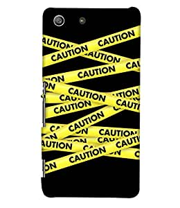 PrintHaat Designer Back Case Cover for Sony Xperia M5 Dual :: Sony Xperia M5 E5633 E5643 E5663 (caution yellow stripes crossing each other on black background)