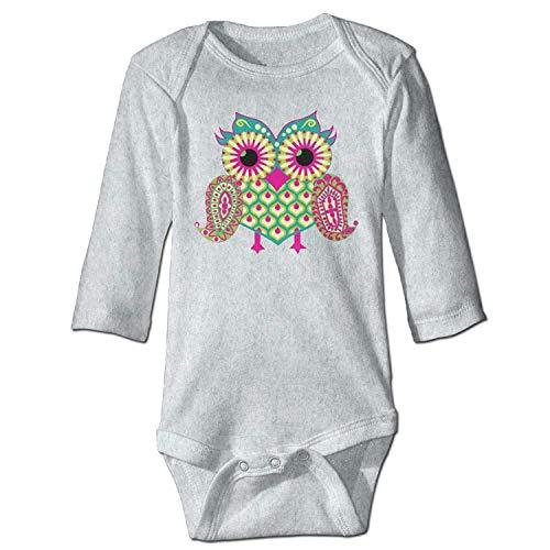MSGDF Unisex Infant Bodysuits Eastern Owl Boys Babysuit Long Sleeve Jumpsuit Sunsuit Outfit Ash Owl Infant Bodysuit