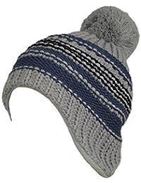 Gwinner Strickmütze mit Pompon extra warme und dicke Bommelmütze an den Ohren verlängert, winddicht ideal für kalte Tage G12, grau/blau/schwarz