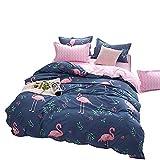 Loussiesd Flamingo Bettwäsche Set Blau & Rosa Bettbezug mit 2 Kissenbezug 3 teilig 155x220cm+80x80cm Weiche Atmungsaktive Polyster Betten Set mit Reißverschluss, Tropische Flamingo