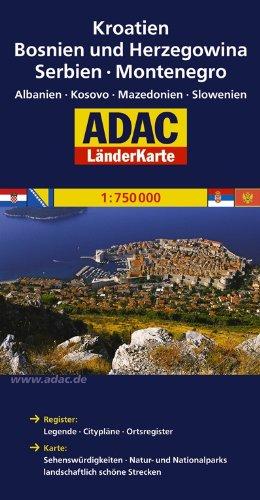ADAC LänderKarte Kroatien, Bosnien und Herzegowina 1:750 000: Serbien, Montenegro, Albanien, Kosovo, Mazedonien, Slowenien