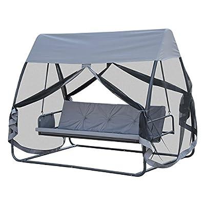Outsunny® Hollywoodschaukel Gartenschaukel Schaukelbank Gartenliege Schaukel, 3-Sitzer, mit Seitenwänden, Metall+Polyester, Grau, 240x140x197cm