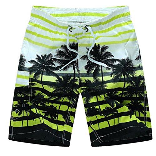 Men's Casual Coconut Trees Beach Shorts GreenYellow