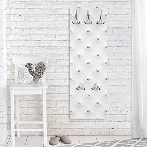 Bilderwelten Wandgarderobe - Diamant Weiß Luxus - Design Garderobe Garderobenpaneel Kleiderhaken Flurgarderobe Hakenleiste Holz Standgarderobe Hängegarderobe, Größe HxB: 139cm x 46cm
