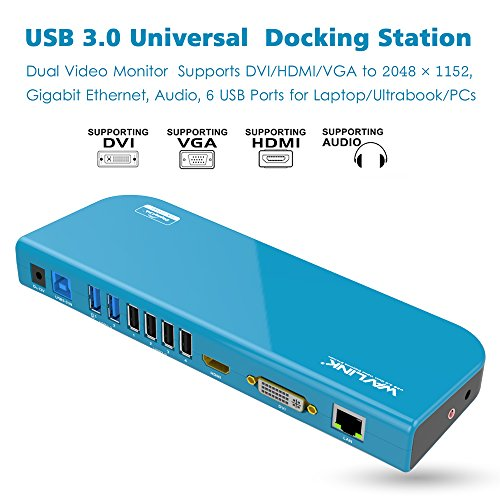 Wavlink Universal Laptop Docking Station USB 3.0 Dock für Tablets und Notebooks mit Dual Video HDMI/ DVI/ VGA (up to 2048×1152), Gigabit Ethernet, 6x USB Port Unterstützung Windows XP, Mac OS, Android 5.0 and Higher