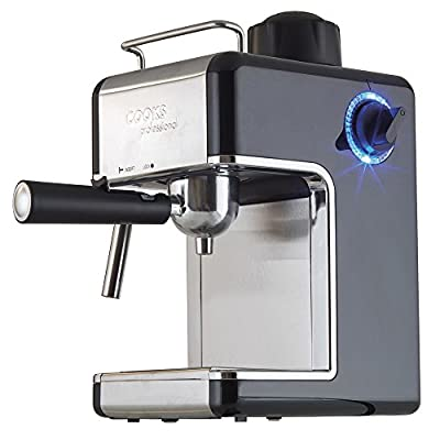 Coffee Machine Espresso Cappuccino Latte Dispenser with Milk Frother, 3.5 Traditional Italian Bar Barista Style, 800 Watts by Cook Professional by Cooks Professional
