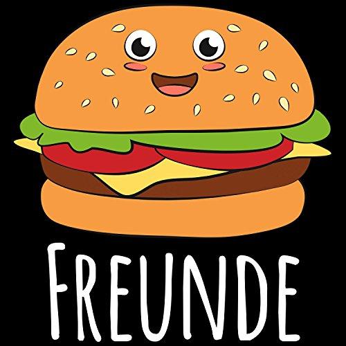 Fashionalarm Herren T-Shirt - Beste Freunde Burger | Fun Shirt für Fast Food Fans & Geschenk Idee für Paare Schwarz