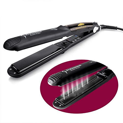 Woolala Steam Spray Hair Straightener Ceramic Heating Flat & Curler Iron Fast Hair Straightening Digital Screen with 6 Temperature Levels for All Hair Type (Iron Flat Iron)