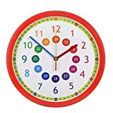LETU Orologio da Parete Didattico per Bambini con Meccanismo al Quarzo Silenzioso E Senza Ticchettio - Facile da Leggere, Impara A Raccontare Il Tempo - Diametro di 30 Cm,Red