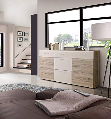 Sideboard in Sandeiche-NB und weiß, mit 2 Türen, 3 Schubkästen und 2 Einlegeböden, Maße: B/H/T ca. 179,6/100,9/41 cm