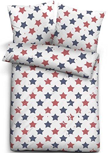 Biberna Biber Bettwäsche Trendline Sterne rot/blau 155x220 cm + 80x80 cm