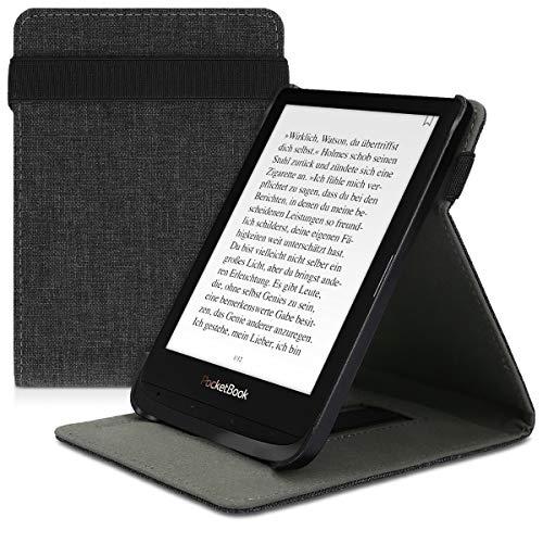 kwmobile Pocketbook Touch Lux 4/Basic Lux 2/Touch HD 3 Hülle - Schlaufe Ständer - e-Reader Schutzhülle für Pocketbook Touch Lux 4/Basic Lux 2/Touch HD 3 - Stoff Design Dunkelgrau