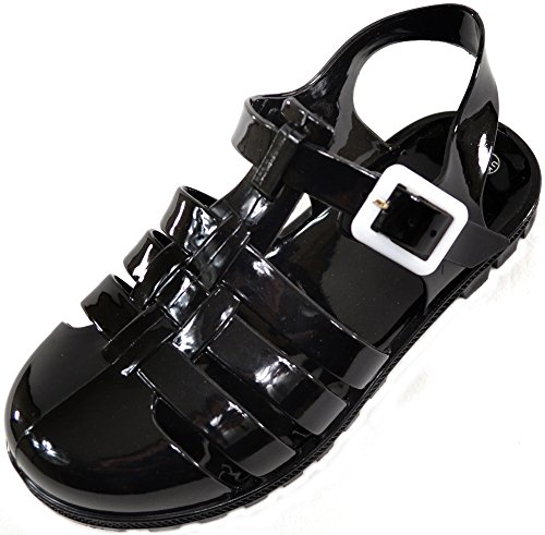 childrens-kids-girls-summer-garden-beach-holiday-jelly-shoes-sandals-black-infant-6-uk