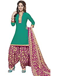 Baalar Women's Cotton Dress Material (409_Free Size_green)