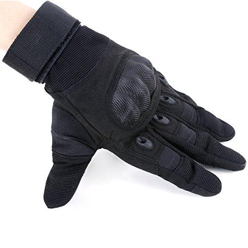 Unigear Taktische Handschuhe mit Klettverschluss Motorrad Handschuhe Army Gloves Sporthandschuhe geeignet für Motorräder Skifahren, Militär, Airsoft (Schwarz-Voll, XL) - 5