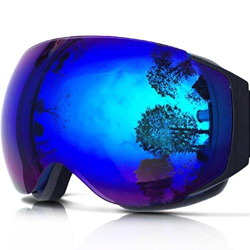 ZIONOR Lagopus X6 Sferico senza telaio Snowmobile snowboard Skate Occhiali da sci con Anti-UV di protezione antinebbia con obiettivo Occhiali da sci (Blu)