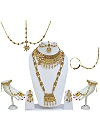 Lucky Jewellery Bridal Golden Color Alloy Wedding Set For Girls & Women
