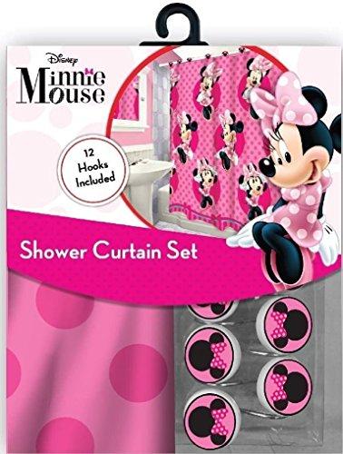 Das 13-teilige Disney Pink Minnie Mouse Vorhang für die Dusche und Haken Set - Vorhang Kleinkind-mädchen-dusche