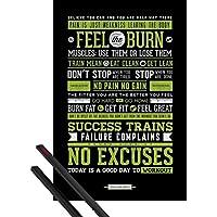 1art1® Póster + Soporte: Motivación Póster (91x61 cm) Fitness, Frase Motivacional Y 1 Lote de 2 Varillas Negras