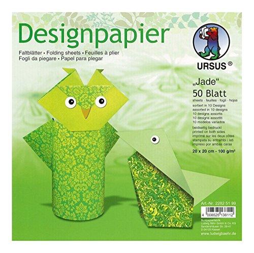 Ursus 22825199 - Designpapier Jade, 50 Blatt, 20 x 20 cm, beidseitig bedruckt