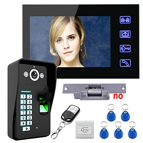 "MOUNTAINONE Touch Key 7"" Lcd Fingerprint Recognition Video Door Phone Intercom System kit + Electric Strike Lock+ Wireless Remote Control unlock"