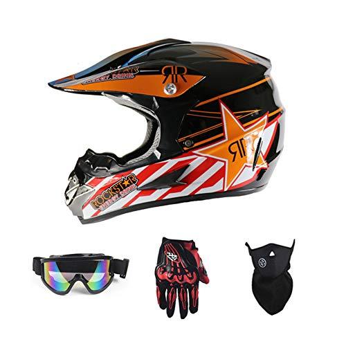 Motorradhelm, Motocross Rennhelm Fahrradhelm Vier Jahreszeiten universal (Handschuhe, Brille, Maske, 4-teiliger Satz),Orange,L