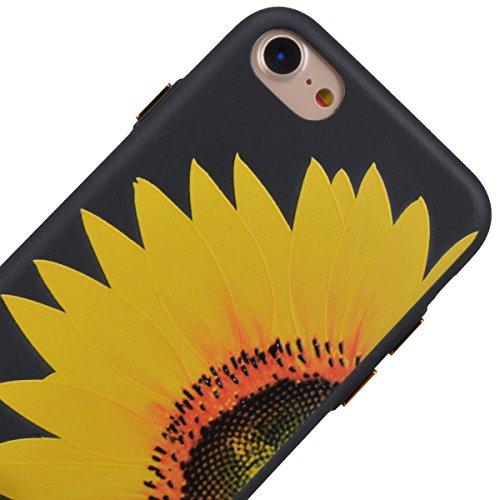 """GrandEver Coque iPhone 7 Plus 5.5"""" Silicone Noir Mat Etui Flexible Rubber Gel Soft Doux Ultra Mince Fine Case Anti Rayure Antichoc Slim Léger Housse de protection pour iPhone 7 Plus 5.5"""" --- Sakura Ro Tournesol A"""