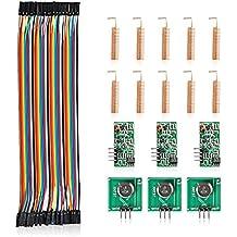 Aukru 3x 433 MHz Empfänger und Funk- Sende Modul Wireless Transmitter-Modul + 40pcs x 20cm female-female jumper Kabel dupont wire + 10pcs Antenne Helical Spring Fernbedienung für Arduino Raspberry Pi