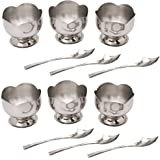 Dynore Stainless Steel Ice Cream Cup Set, 12-Pieces, Silver (DS_448)
