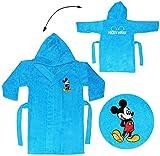 Unbekannt Frottee Bademantel - Disney Mickey Mouse - 5 bis 8 Jahre / Gr. 116 - 140 - 100 % Baumwolle - mit Kapuze - für Kinder / Mädchen & Jungen - Hausmantel / Mor..